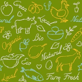 Modèle sans couture avec symboles de nourriture de ferme