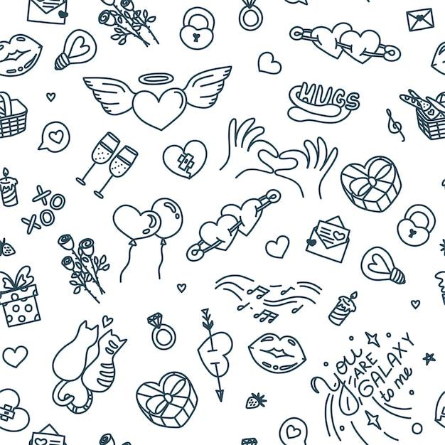 Modèle sans couture avec des symboles de relation amoureuse et d'affection d'amour