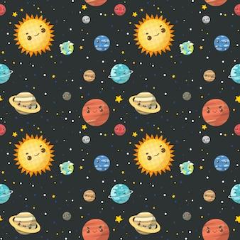 Modèle sans couture le système solaire coloré.
