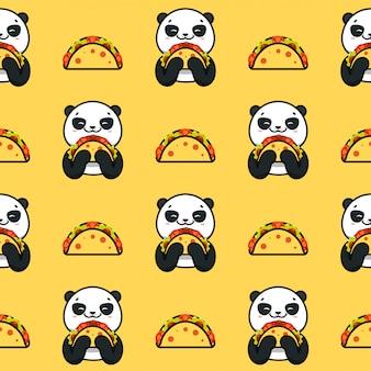 Modèle sans couture de taco, texture, impression, surface avec panda, animaux mignons. nourriture mexicaine