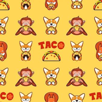 Modèle sans couture de taco, texture, impression, surface avec texte. nourriture mexicaine