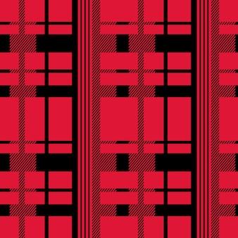 Modèle sans couture tartan couleur noire et rouge