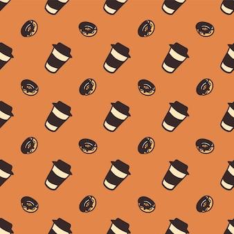Modèle sans couture d'une tasse de café et de délicieux beignets.