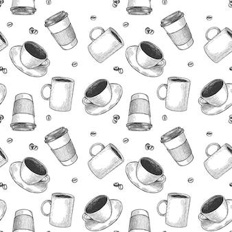 Modèle sans couture de tasse de café. esquissez des tasses à thé et à café, des boissons chaudes diverses tasses contour noir, papier peint de la cafétéria gravure vecteur texture. gobelets en papier à emporter, design pour café