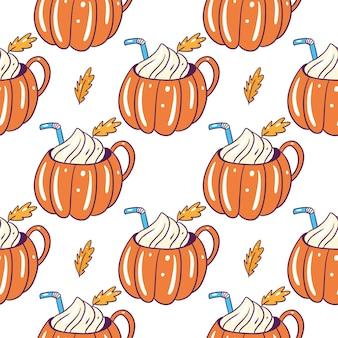 Modèle sans couture de tasse de latte aux épices citrouille. dessiné à la main