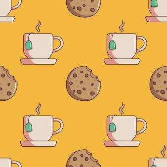 Modèle sans couture d & # 39; une tasse de thé et des biscuits avec style doodle