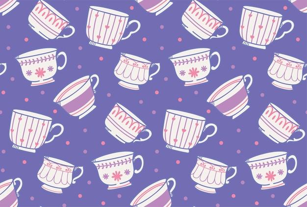 Modèle sans couture de tasse de thé