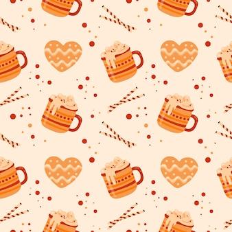 Modèle sans couture avec des tasses de cacao et de crème fouettée, gingersnaps. conception de menus, papier d'emballage de magasin.