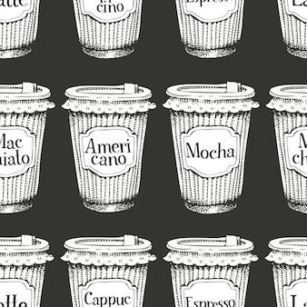Modèle sans couture avec des tasses de café dessinés à la main pour aller