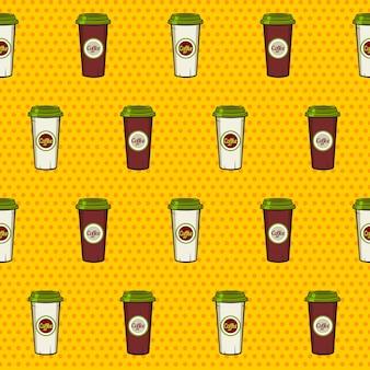 Modèle sans couture de tasses à café en papier sur le fond pointillé.