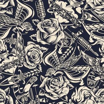 Modèle sans couture de tatouages monochromes vintage