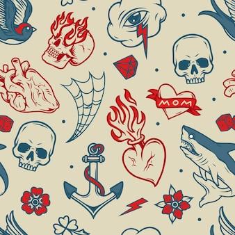 Modèle sans couture de tatouages vintage avec des coeurs anatomiques et ardents