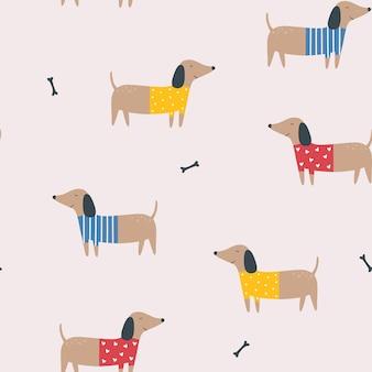 Modèle sans couture avec des teckels fond de vecteur de dessin animé avec des chiens