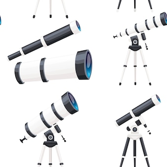 Modèle sans couture de télescopes blancs avec supports et sans illustration vectorielle plane sur fond blanc.