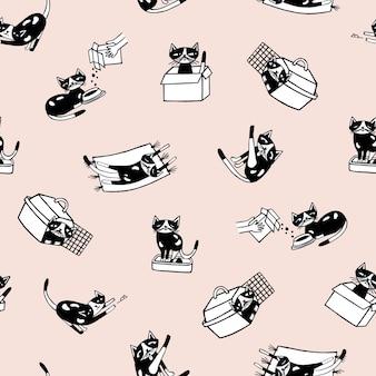 Modèle sans couture tendance avec chaton comique et ses activités quotidiennes