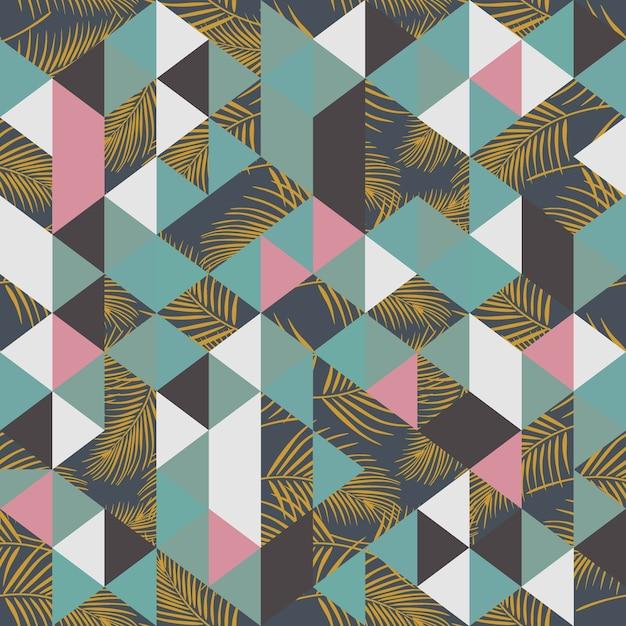 Modèle sans couture tendance hipster avec triangle et feuilles