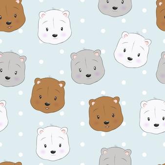 Modèle sans couture tête d'ours mignon