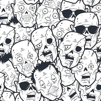 Modèle sans couture tête zombie.