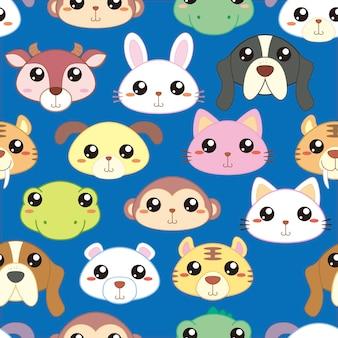 Modèle sans couture de têtes d'animaux, tête d'animaux adorables en style cartoon