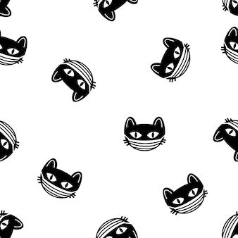 Modèle sans couture de têtes de chat mignon