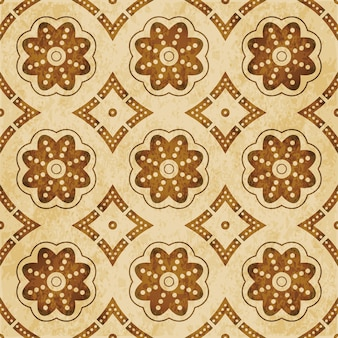 Modèle sans couture texturé brun rétro, cadre de fleur de ligne de point de courbe ronde
