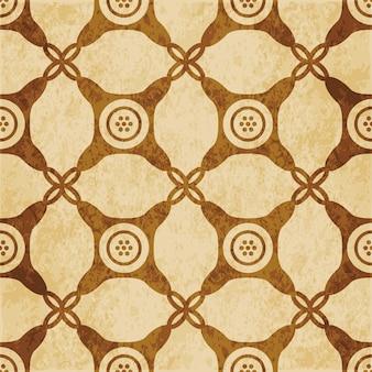 Modèle sans couture texturé brun rétro, cadre de point croisé à cocher coin rond