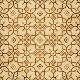 Modèle sans couture texturé brun rétro, fleur de cadre de ligne de point de croix ronde à carreaux