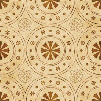 Modèle sans couture texturé brun rétro, fleur de cadre de ligne de point rond