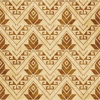 Modèle sans couture texturé brun rétro, fleur de ligne de point croix aborigène triangle