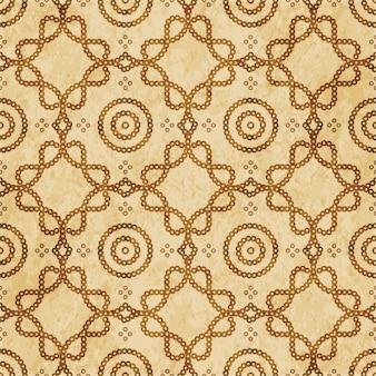 Modèle sans couture texturé brun rétro, ligne de cadre croisé courbe point rond