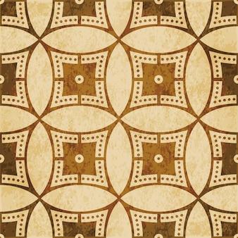 Modèle sans couture texturé brun rétro, ligne de points de cadre croisé cercle rond