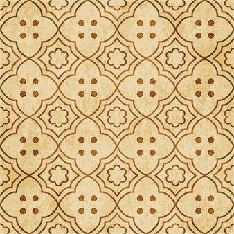 Modèle sans couture texturé brun rétro, point de ligne de fleur de cadre croisé courbe