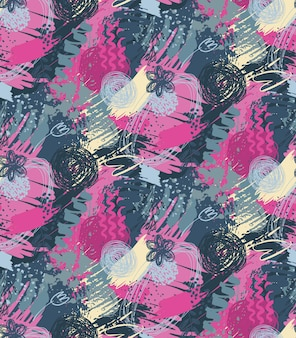 Modèle sans couture avec texture d'encre abstraite dessinée à la main et motif de nature florale.