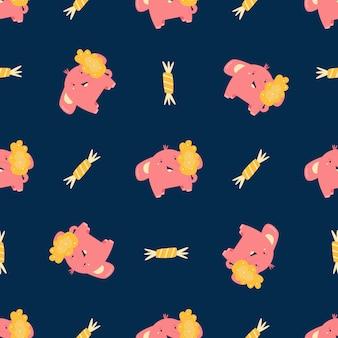 Modèle sans couture, texture avec de jolis petits éléphants lumineux. pour les imprimés enfantins, les décorations. vêtements, textiles. illustration vectorielle