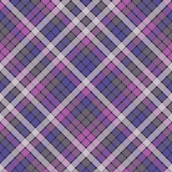 Modèle sans couture de texture de tissu écossais pixel violet