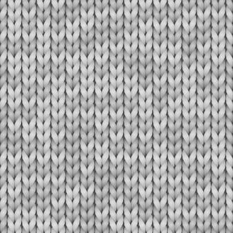 Modèle sans couture de texture tricot réaliste blanc et gris