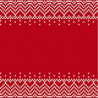 Modèle sans couture texturé tricoté. ornement géométrique en tricot avec une place vide pour le texte.