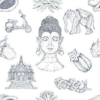 Modèle sans couture thaïlandais dessiné à la main
