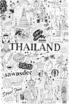 Modèle sans couture de thaïlande dessiné à la main