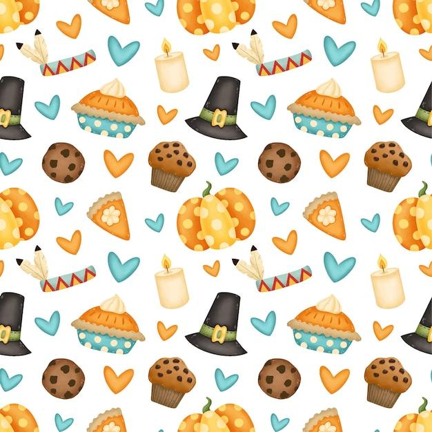 Modèle sans couture de thanksgiving day. chapeau de pèlerin, citrouille, tarte à la citrouille, biscuit aux pépites de chocolat, cupcake, modèle sans couture de bougie.