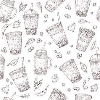 Modèle sans couture de thé boba