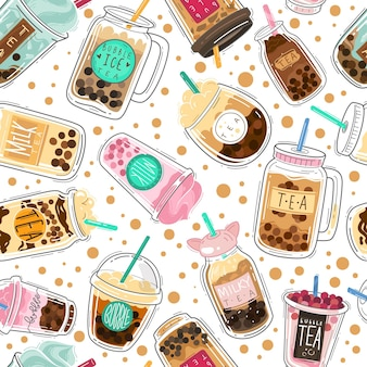 Modèle sans couture de thé à bulles. boba taïwanais avec des boules de tapioca, thé au lait perlé, textile de conception créative de boisson froide populaire asiatique, papier d'emballage, texture de vecteur de papier peint isolé sur fond blanc