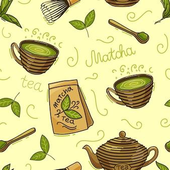 Modèle sans couture de thé matcha.