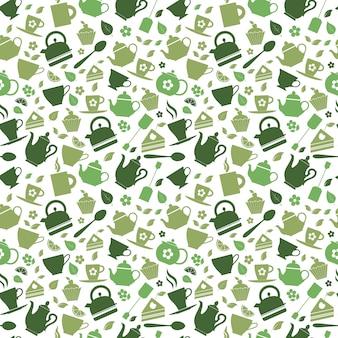 Modèle sans couture de thé vert
