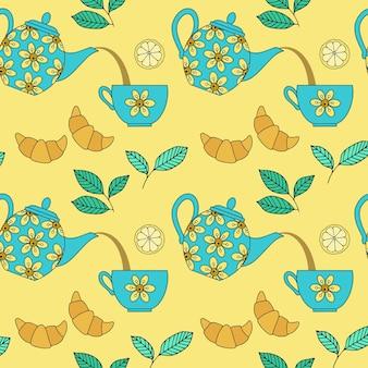 Modèle sans couture avec théières et tasses en céramique sur fond jaune. vecteur