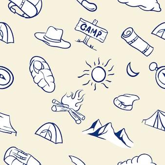 Modèle sans couture de thème de camping dessiné à la main
