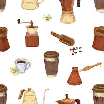 Modèle sans couture sur le thème du café