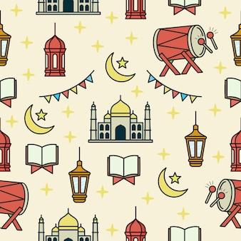 Modèle sans couture avec le thème du ramadan