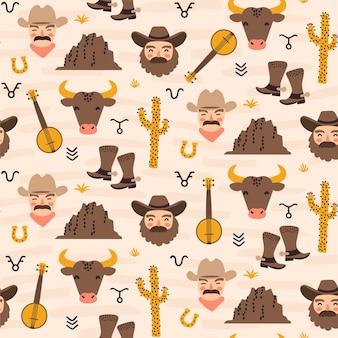 Modèle sans couture sur le thème du ranch ouest-américain