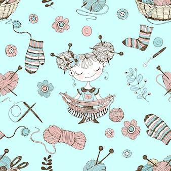 Modèle sans couture sur le thème du tricot avec de jolies filles tricoteuses dans un style doodle.